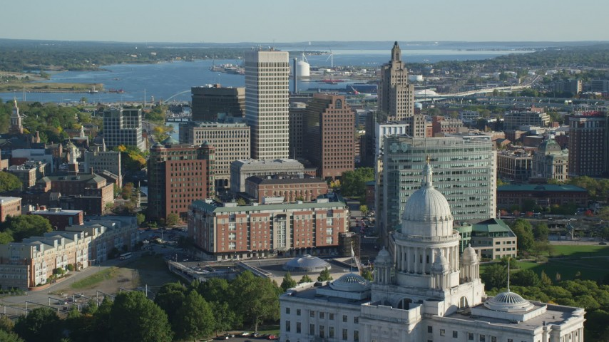 6k stock footage aerial video approaching the Rhode Island State House, Downtown Providence, Rhode Island Aerial Stock Footage | AX145_057