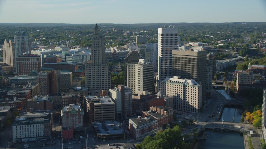 6k stock footage aerial video flying by buildings and skyscrapers, Downtown Providence, Rhode Island Aerial Stock Footage | AX145_061