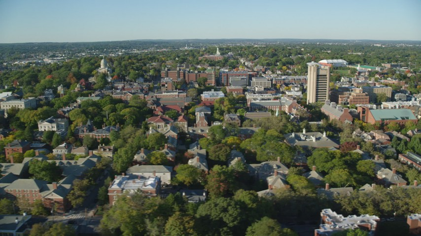 6k aerial video flying by Brown University, colorful trees, Providence, Rhode Island Aerial Stock Footage AX145_062