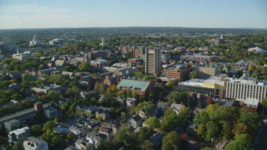 6k aerial video orbiting Brown University, colorful trees, Providence, Rhode Island Aerial Stock Footage | AX145_063