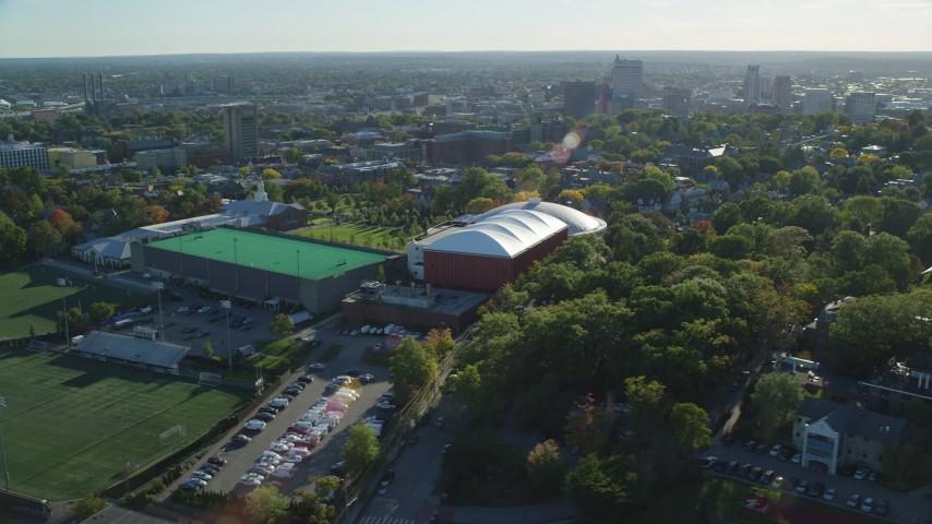 6k aerial video orbiting buildings at Brown University, Providence, Rhode Island Aerial Stock Footage | AX145_066