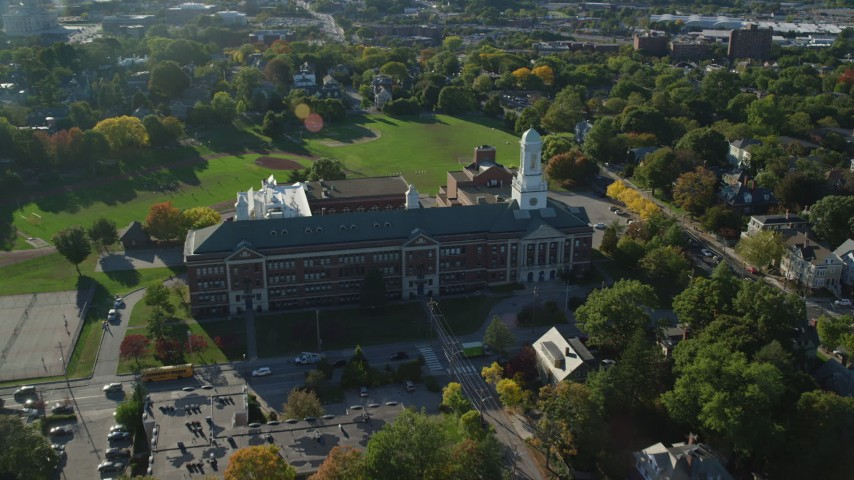 6k stock footage aerial video approaching Hope High School, tilt down, Providence, Rhode Island Aerial Stock Footage | AX145_067