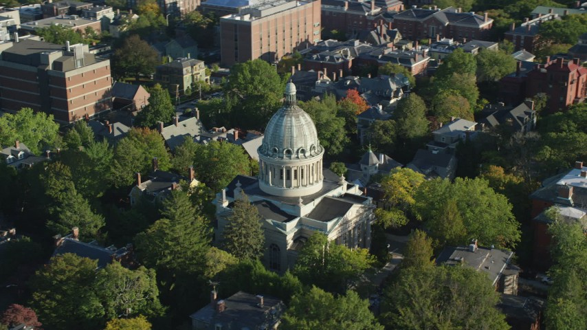6k stock footage aerial video orbiting First Church of Christ Scientist, trees, Providence, Rhode Island Aerial Stock Footage | AX145_068
