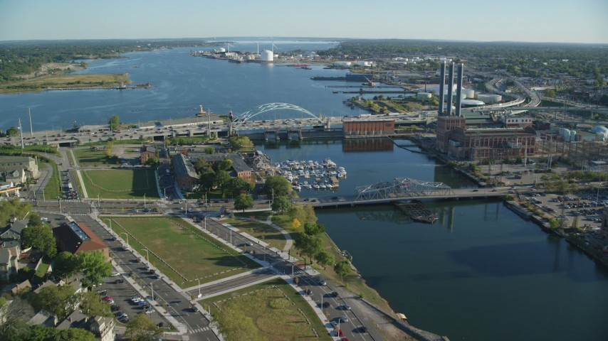 6k stock footage aerial video approaching Providence River Bridge, factories, Providence, Rhode Island Aerial Stock Footage | AX145_069