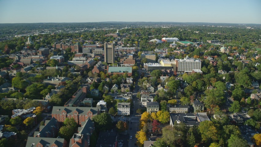 6k aerial video approaching and flying over Brown University, Providence, Rhode Island Aerial Stock Footage | AX145_071
