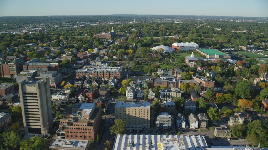 6k aerial video of Brown University, Meehan Auditorium, Pizzitola Sports Center, Providence, Rhode Island Aerial Stock Footage | AX145_072