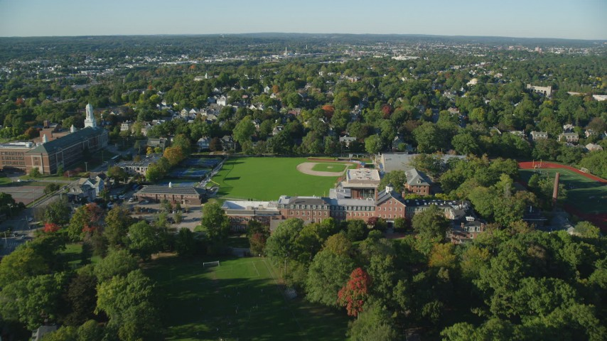 6k aerial video flying over Brown University, Pizzitola Sports Center, Providence, Rhode Island Aerial Stock Footage | AX145_073