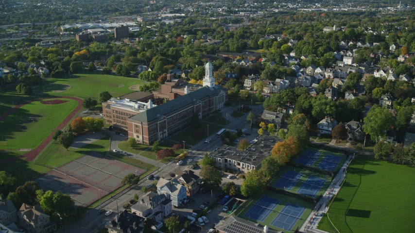 6k stock footage aerial video approaching Hope High School and tilt down, Providence, Rhode Island Aerial Stock Footage | AX145_074