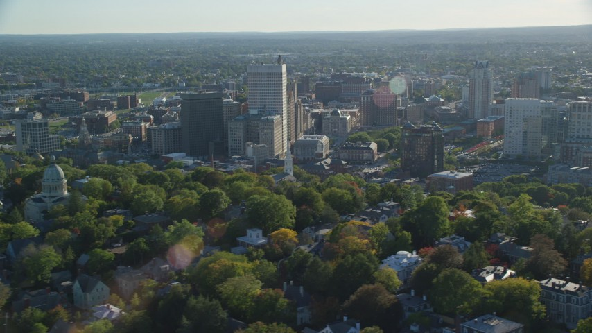 6k stock footage aerial video flying by buildings and skyscrapers, Downtown Providence, Rhode Island Aerial Stock Footage | AX145_075