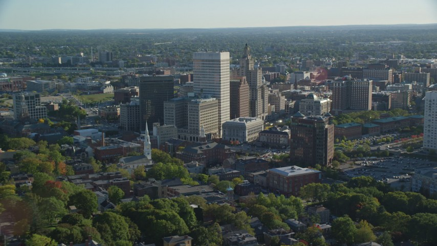 6k stock footage aerial video flying by buildings and skyscrapers, Downtown Providence, Rhode Island Aerial Stock Footage | AX145_076