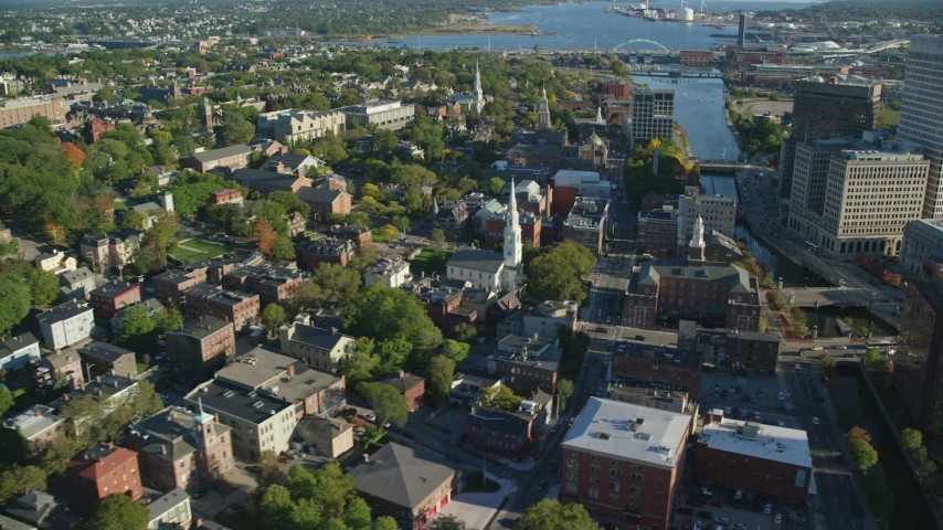 6k stock footage aerial video of First Baptist Church in America, Rhode Island Supreme Court, Providence, Rhode Island Aerial Stock Footage | AX145_077