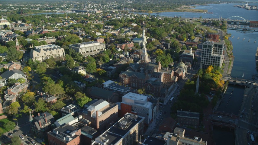 6k stock footage aerial video flying over library, government buildings, approach church, Providence, Rhode Island Aerial Stock Footage | AX145_078