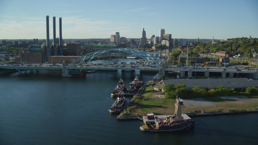 6k stock footage aerial video approaching Providence River Bridge, skyline, Downtown Providence, Rhode Island Aerial Stock Footage | AX145_083