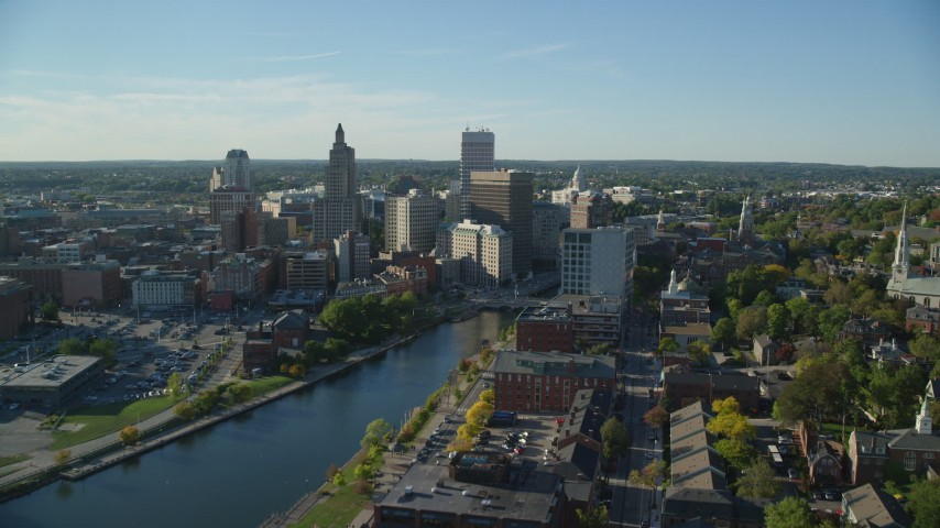 6k stock footage aerial video approaching Rhode Island State House, Downtown Providence, Rhode Island Aerial Stock Footage | AX145_085