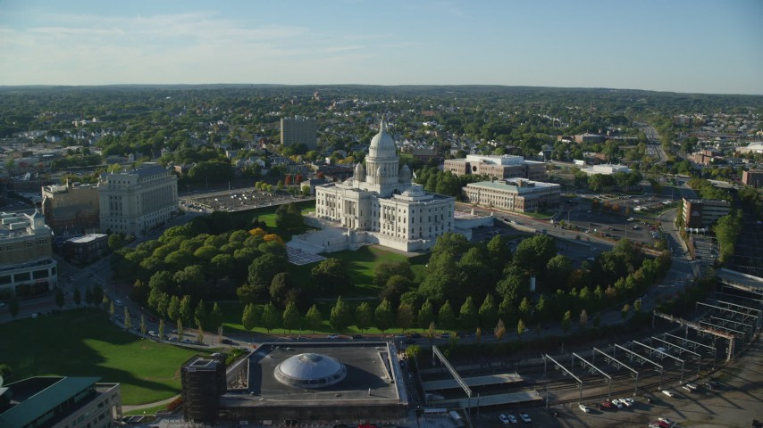 6k stock footage aerial video approaching Rhode Island State House, tilt down, Providence, Rhode Island Aerial Stock Footage | AX145_087