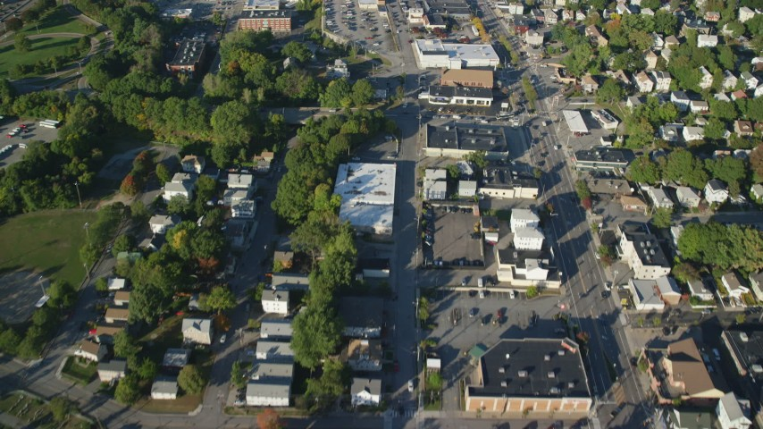 6k stock footage aerial video of a bird's eye view flying over Main Street, Providence, Rhode Island Aerial Stock Footage | AX145_091