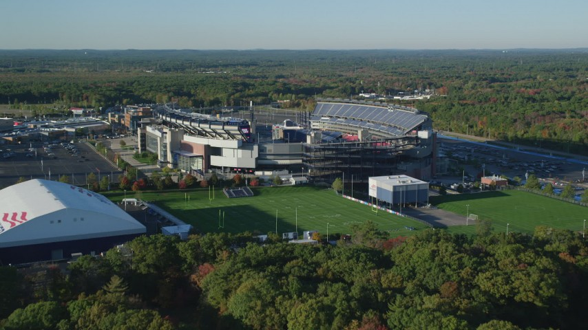 6k stock footage aerial video approaching Gillette Stadium, autumn, Foxborough, Massachusetts Aerial Stock Footage | AX145_117