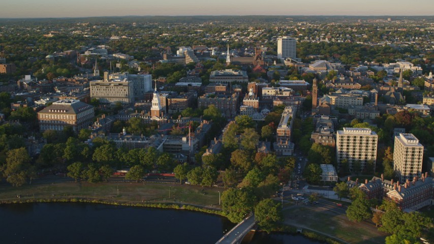 6k stock footage aerial video orbiting Lowell House, Harvard University, Cambridge, Massachusetts, sunset Aerial Stock Footage | AX146_029