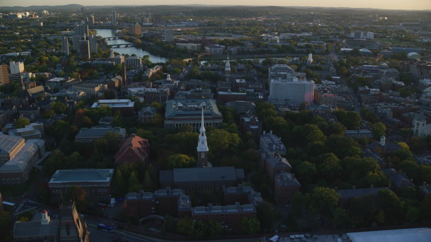 6k aerial video flying over Memorial Church, Harvard University, Cambridge, Massachusetts, sunset Aerial Stock Footage | AX146_036