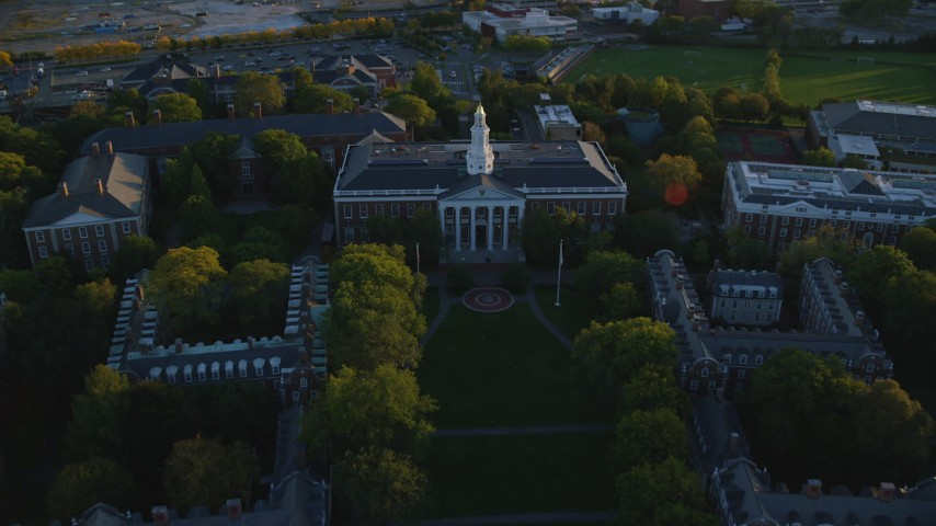 6k aerial video of a bird's eye view, Harvard Business School, Harvard University, Massachusetts, sunset Aerial Stock Footage | AX146_039