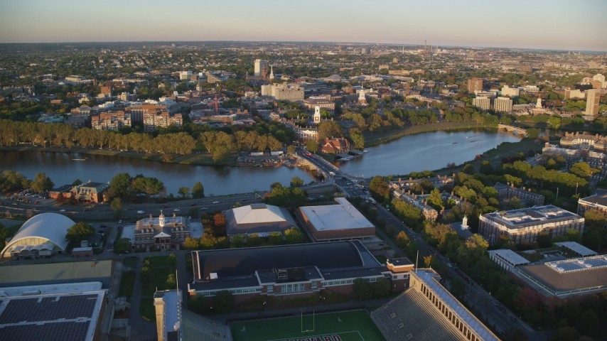 6k stock footage aerial video of Anderson Memorial Bridge, Charles River, Harvard University, Massachusetts, sunset Aerial Stock Footage | AX146_042