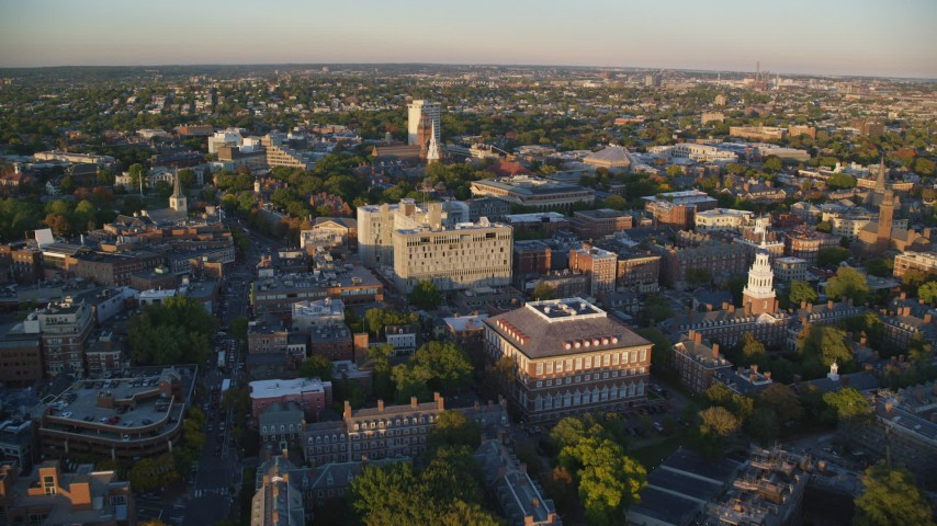 6k stock footage aerial video approaching Memorial Church, Harvard University, Massachusetts, sunset Aerial Stock Footage | AX146_044