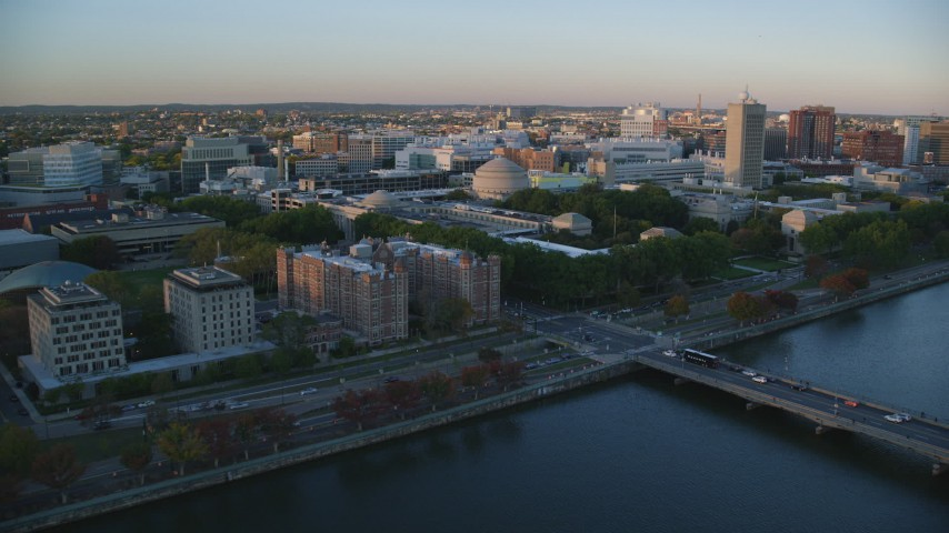6k aerial video of Maclaurin Building, Massachusetts Institute of Technology, Massachusetts, sunset Aerial Stock Footage | AX146_052