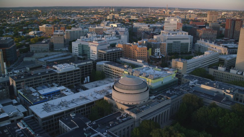 6k stock footage aerial video of Picower Insitute for Learning and Memory, Stata Center, Massachusetts Institute of Technology, Massachusetts, sunset Aerial Stock Footage AX146_053