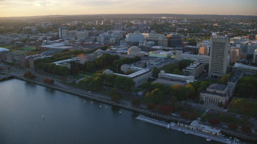6k stock footage aerial video flying by the Massachusetts Institute of Technology, Massachusetts, sunset Aerial Stock Footage | AX146_058