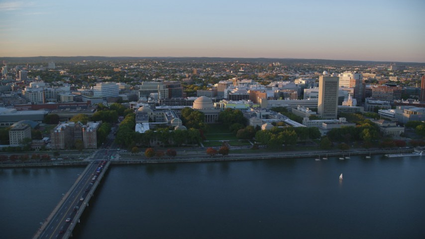 6k stock footage aerial video flying by the Massachusetts Institute of Technology, Massachusetts, sunset Aerial Stock Footage | AX146_059