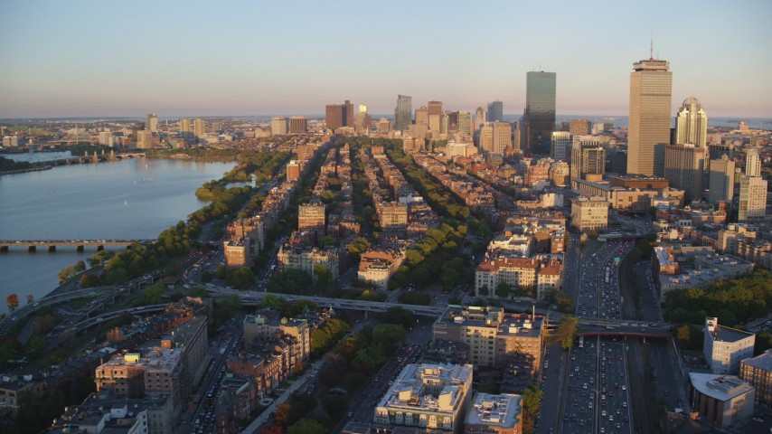 6k stock footage aerial video flying by Back Bay Victorian brownstones, Downtown Boston, Massachusetts Aerial Stock Footage | AX146_061