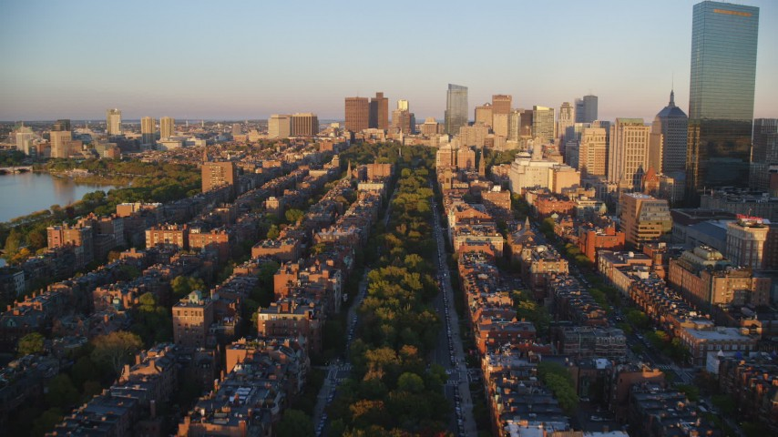 6k stock footage aerial video flying over Back Bay, approach Boston Common, Downtown Boston, Massachusetts, sunset Aerial Stock Footage | AX146_063