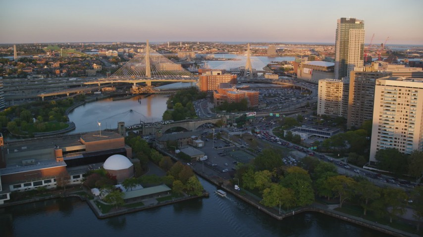 6k stock footage aerial video approaching the Zakim Bridge, Boston, Massachusetts, sunset Aerial Stock Footage | AX146_071