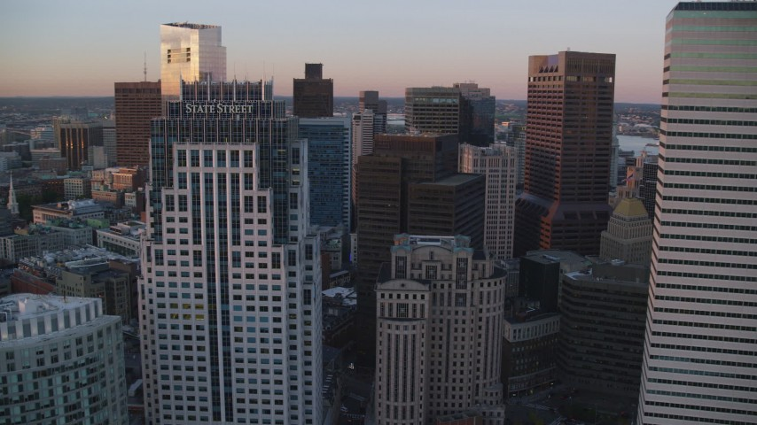 6k stock footage aerial video of One Financial Center, One Lincoln Street, Downtown Boston, Massachusetts, sunset Aerial Stock Footage | AX146_085