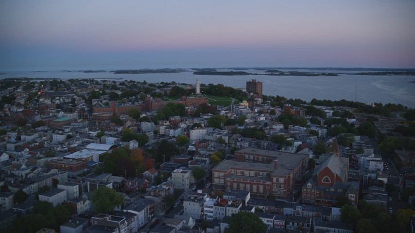6k stock footage aerial video of Dorchester Heights Monument, row houses, South Boston, Massachusetts, twilight  Aerial Stock Footage | AX146_116