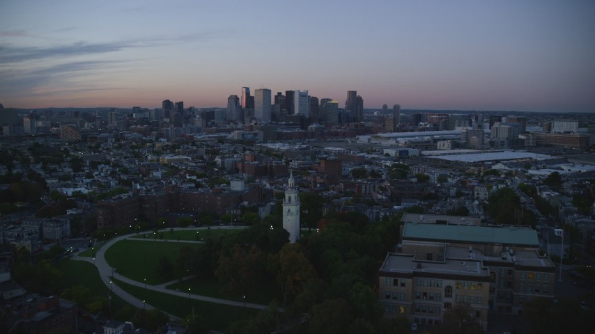6k stock footage aerial video of Dorchester Heights Monument, skyline, South Boston, Massachusetts, twilight Aerial Stock Footage | AX146_121