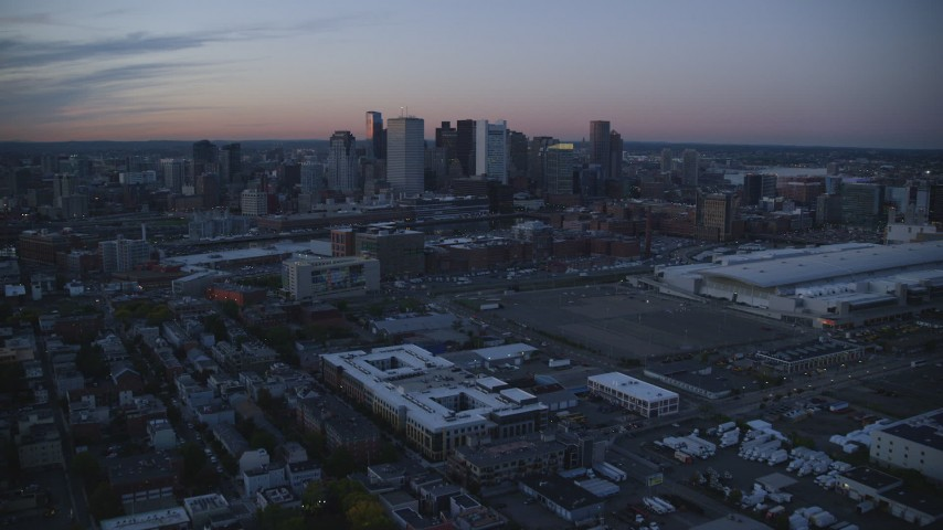 6k stock footage aerial video of Fort Point Channel, Downtown Boston, Massachusetts, twilight Aerial Stock Footage   AX146_123