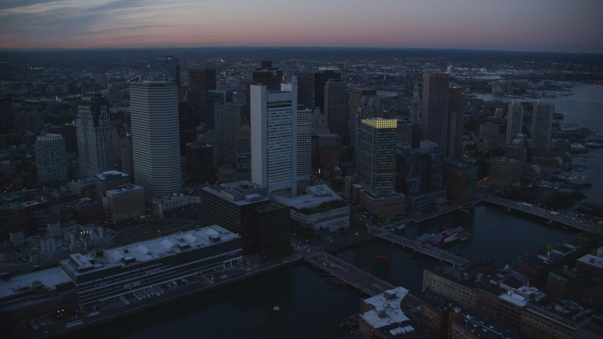 6k stock footage aerial video flying by skyscrapers, Downtown Boston, Massachusetts, twilight Aerial Stock Footage | AX146_125
