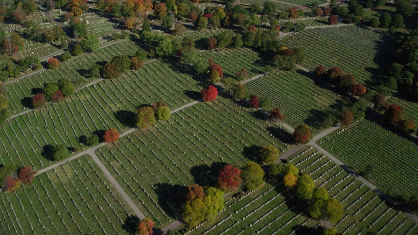 6k stock footage aerial video flying over New Calvary Cemetery in autumn, Roslindale, Massachusetts Aerial Stock Footage   AX147_001