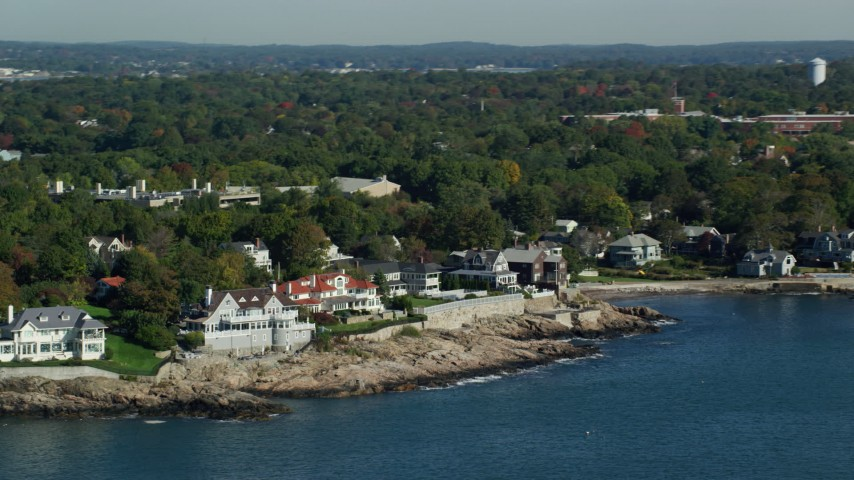6k stock footage aerial video flying by mansions along the coast, Marblehead, Massachusetts Aerial Stock Footage | AX147_022
