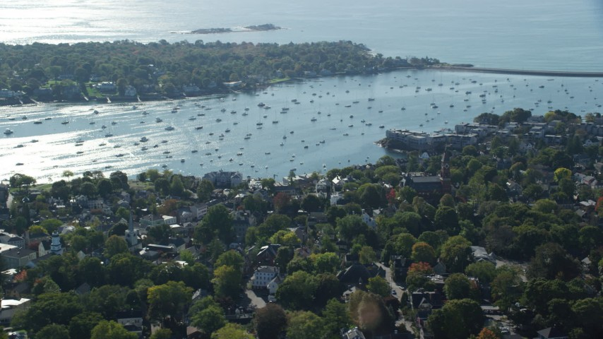 6k stock footage aerial video orbiting Abbott Hall, coastal community near the harbor, Marblehead, Massachusetts Aerial Stock Footage | AX147_028
