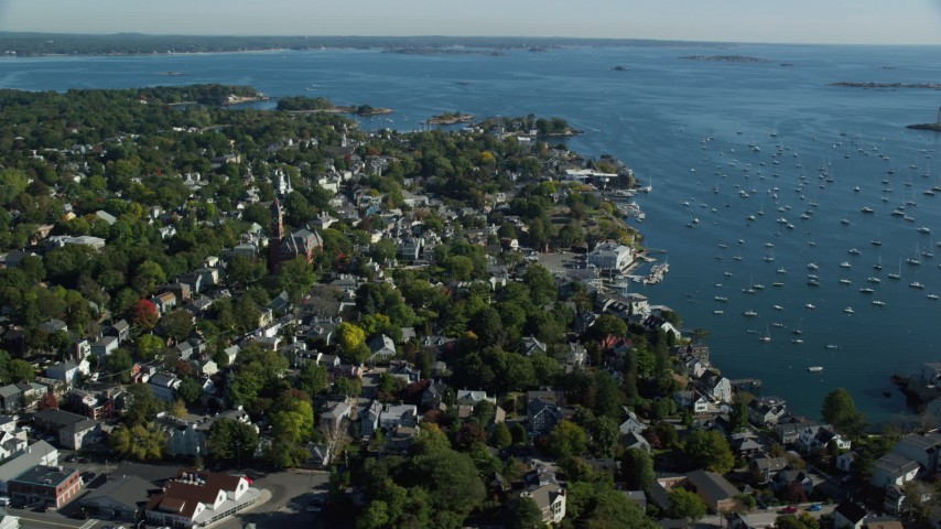 6k stock footage aerial video orbiting Abbott Hall, coastal community along harbor, Marblehead, Massachusetts Aerial Stock Footage | AX147_030
