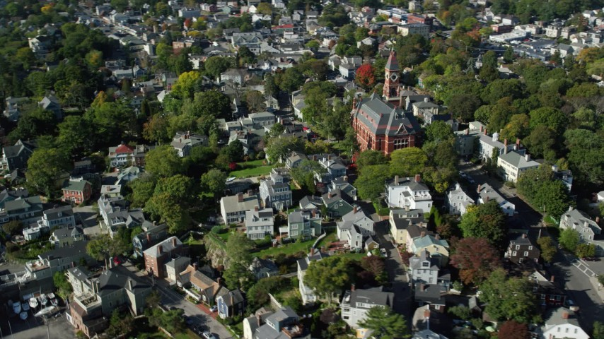 6k stock footage aerial video flying over coastal community and Abbott Hall, Marblehead, Massachusetts Aerial Stock Footage AX147_032 | Axiom Images