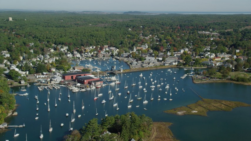 6k stock footage aerial video flying over harbor with boats in autumn, Manchester-by-the-Sea, Massachusetts Aerial Stock Footage | AX147_067