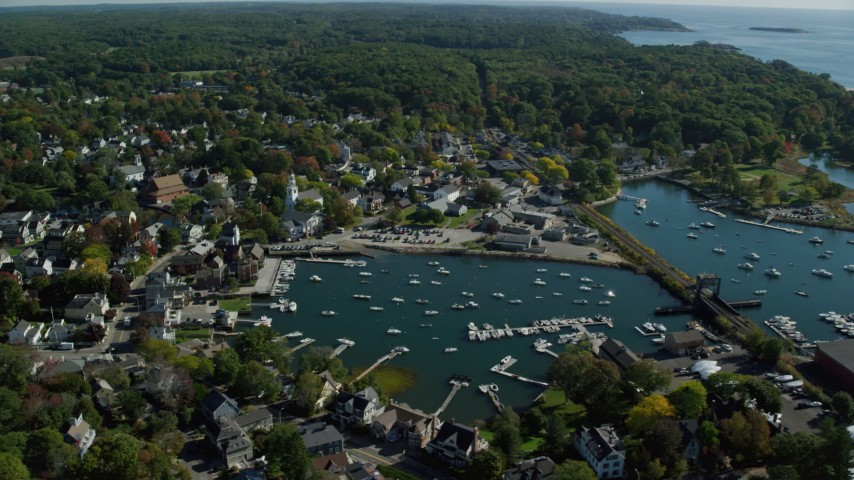6k stock footage aerial video orbiting harbor, coastal community, autumn, Manchester-by-the-Sea, Massachusetts Aerial Stock Footage | AX147_071
