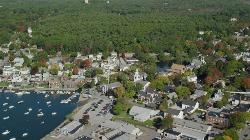 6k stock footage aerial video flying by coastal community, harbor, autumn, Manchester-by-the-Sea, Massachusetts Aerial Stock Footage | AX147_073