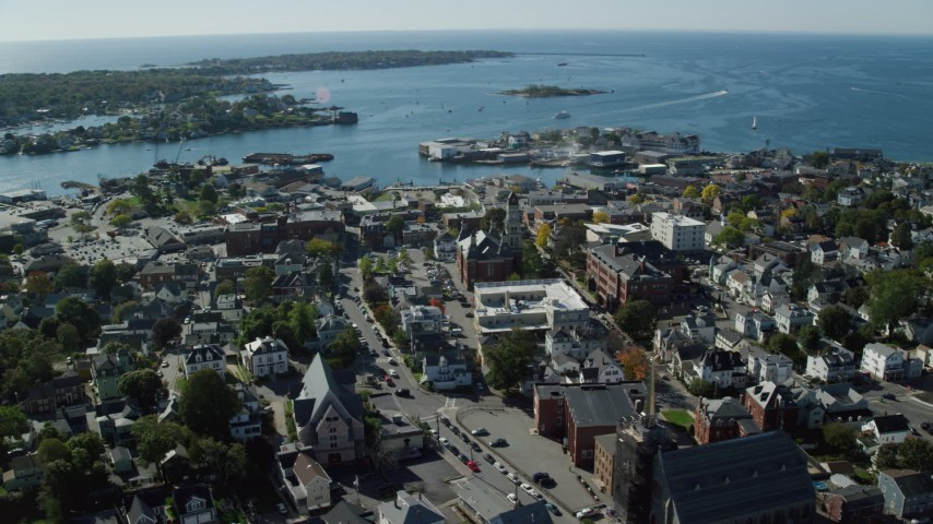 6k stock footage aerial video of a wide angle of a coastal town and city hall, Gloucester, Massachusetts Aerial Stock Footage | AX147_102