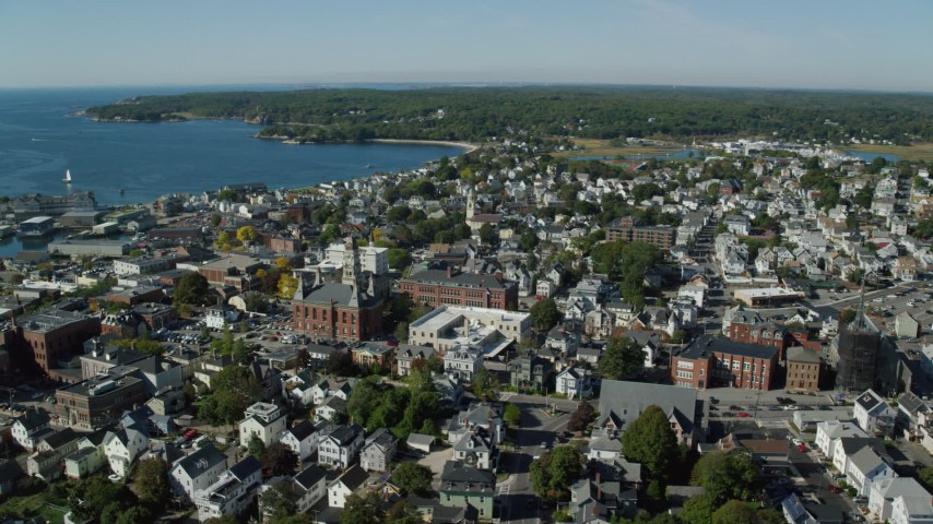 6k stock footage aerial video of City hall and coastal town, Gloucester, Massachusetts Aerial Stock Footage | AX147_103