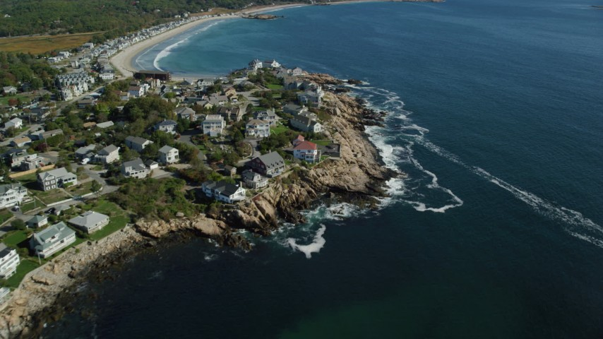 6k stock footage aerial video flying by oceanfront homes, Gloucester, Massachusetts Aerial Stock Footage AX147_108 | Axiom Images