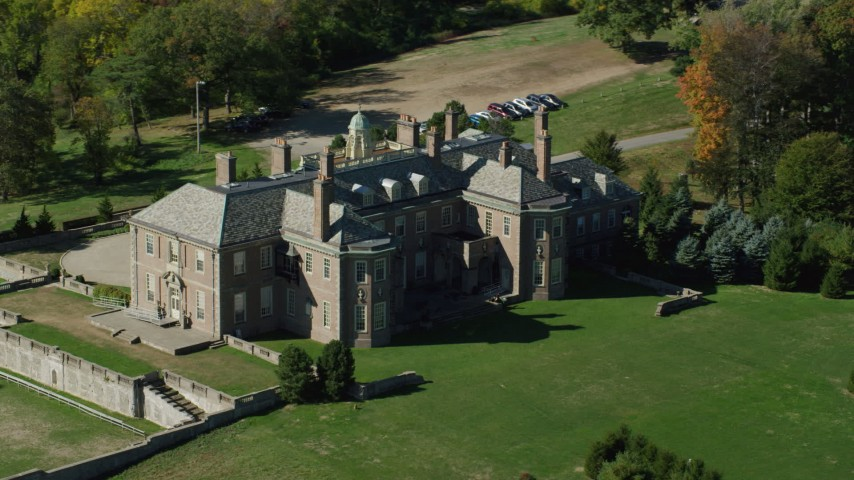 6k stock footage aerial video orbiting Castle Hill and The Great House at Crane Estate, autumn, Ipswich, Massachusetts Aerial Stock Footage | AX147_143